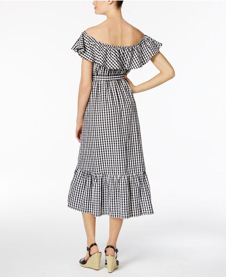 Grace Elements Cotton Off-The-Shoulder Gingham Midi Dress 2