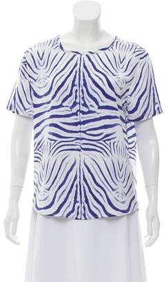 Equipment Silk Short Sleeve Printed Top