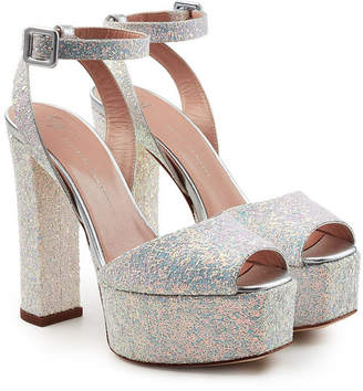 Giuseppe Zanotti Lavinia Leather Platform Sandals with Glitter