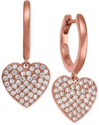 Kate Spade Rose Gold-Tone Pave Heart Drop Earrings