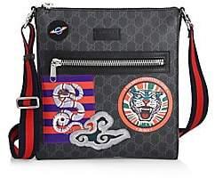 Gucci Men's GG Supreme Multicolor Patch Canvas Messenger Bag