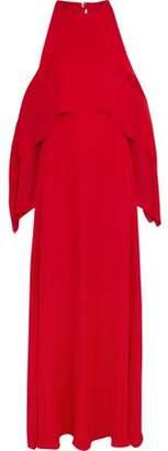 Rosetta Getty Cold-Shoulder Draped Silk-Georgette Gown