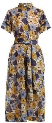 Lisa Marie Fernandez Floral Print Short Sleeved Cotton Dress - Womens - Cream Multi