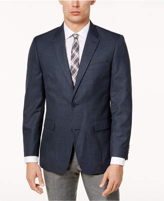 Tommy Hilfiger Men's Slim-Fit Brown & Blue Mini-Check Sport Coat