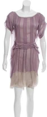 Alberta Ferretti Silk Pleated Dress