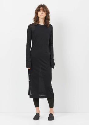 Yohji Yamamoto black ragne kikas dot button long sleeve dress $660 thestylecure.com
