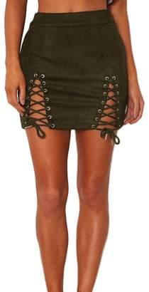 Romacci Women Lace-up Suede Skirt Slit Eyelets Straps Party Short Mini Skirt