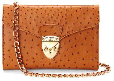Aspinal of London Manhattan Clutch Bag Tan Ostrich