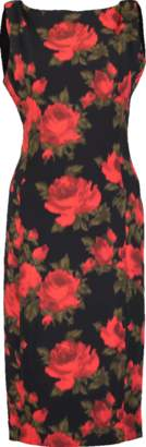 Michael Kors Draped Shoulder Rose Print Dress