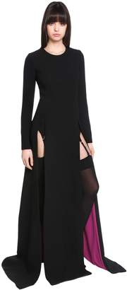 Fausto Puglisi Lace-Up Wool Crepe Dress W/ Front Slits