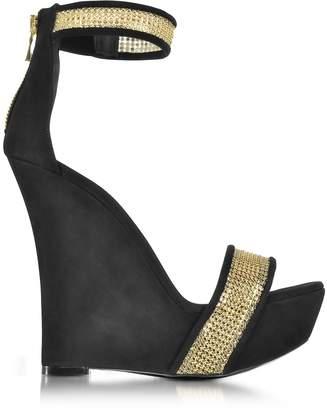 Balmain Samara Golden Mesh and Black Suede Wedge Sandals