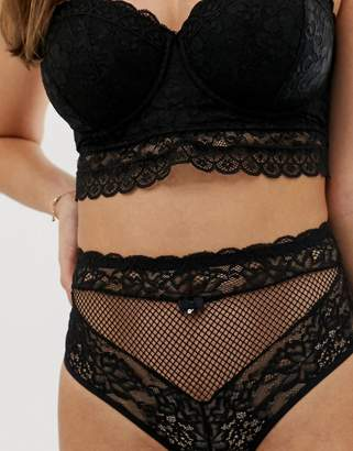 Pour Moi? Pour Moi Suspense high waisted lace back brief in black