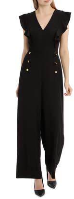 Miss Shop Button Front Flutter Sleeve Jumpsuit