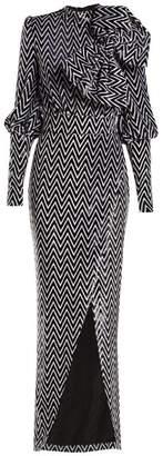Balmain - Chevron Striped Bow Embellished Velvet Gown - Womens - Black White