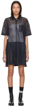 Thom Browne Navy Mesh Stripe Boxy Polo Dress