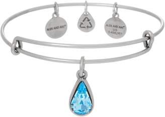 Alex and Ani Silvertone Crystal Charm Bangle