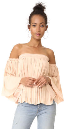 Elizabeth and James Emelyn Pleated Flare Sleeve Top $295 thestylecure.com