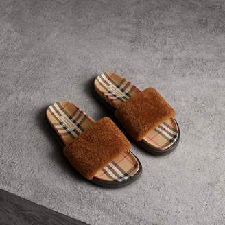 Burberry Shearling and Vintage Check Slides
