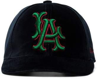 Gucci blue, red and green LA Angels patch velvet baseball cap