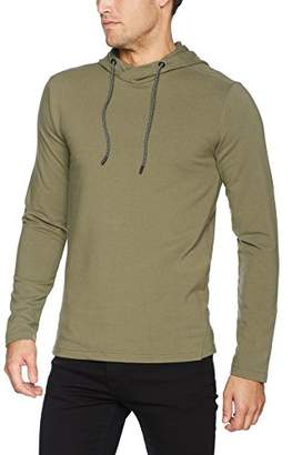 Benetton Men's Pullover W/Hood Sweatshirt, Military Green 19a, X-Large