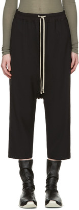 Rick Owens Black Drawstring Cropped Lounge Pants $660 thestylecure.com