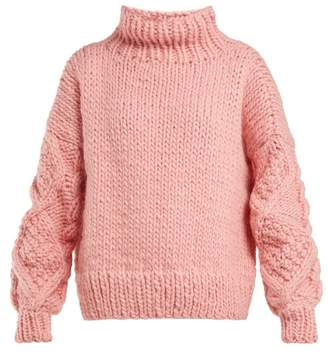 I Love Mr Mittens - High Neck Knitted Wool Sweater - Womens - Pink