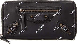 Balenciaga All Over Continental Zip Around Leather Wallet