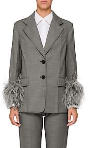 Prada Women's Feather Embellished Wool-Blend Blazer-Gray