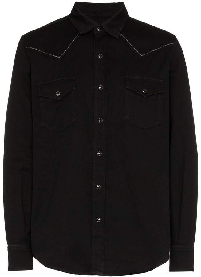 Saint Laurent Slim-Fit Embroidered Cotton-Twill Western Shirt