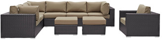 Modway Outdoor Convene 9Pc Outdoor Patio Wicker Rattan Sectional Set