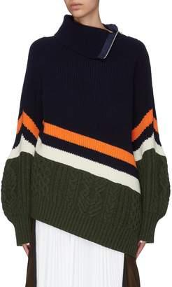 Sacai Colourblock mix knit puff sleeve turtleneck sweater