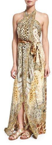 CamillaCamilla Printed Halter Wrap Dress Coverup, Leopard's Leap