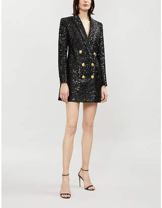 Balmain Double-breasted longline sequinned jacket