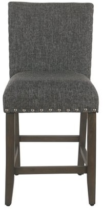 "HomePop 24"" Counter stool with nailheads, Multiple Colors"