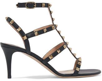 Valentino Garavani The Rockstud Leather Sandals - Black