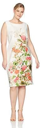 Gabby Skye Women's Plus Size Sleeveless Round Neck Midi Scuba Sheath Dress