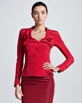 Zac Posen Button-Front Silk Blouse Jacket, Raspberry