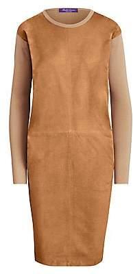 Ralph Lauren Women's Suede Front Crewneck Dress