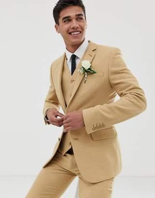 Asos Design DESIGN wedding super skinny suit jacket in stone wool blend micro check