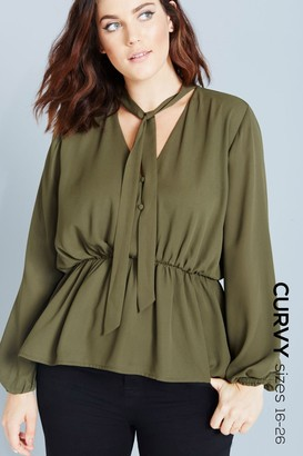 a35e259c159f22 Girls On Film Outlet Khaki Pussybow Peplum Blouse