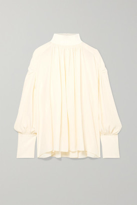 Chloé Ribbed Wool Blend-trimmed Gathered Silk Crepe De Chine Blouse - Cream
