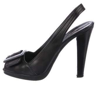 PeepToe Prada Sport Leather Peep-Toe Pumps