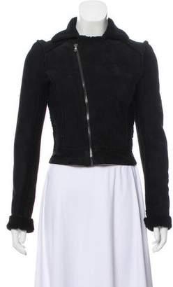 L'Agence Lambskin Long Sleeve Jacket