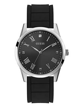 7d783737aa37 GUESS Comfortable Black Stain Resistant Silicone Watch with Black Genuine  Diamond Dial + Silver-Tone