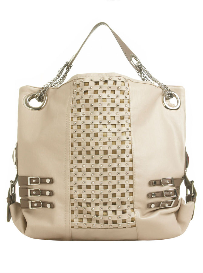Two Tone Studded Tote