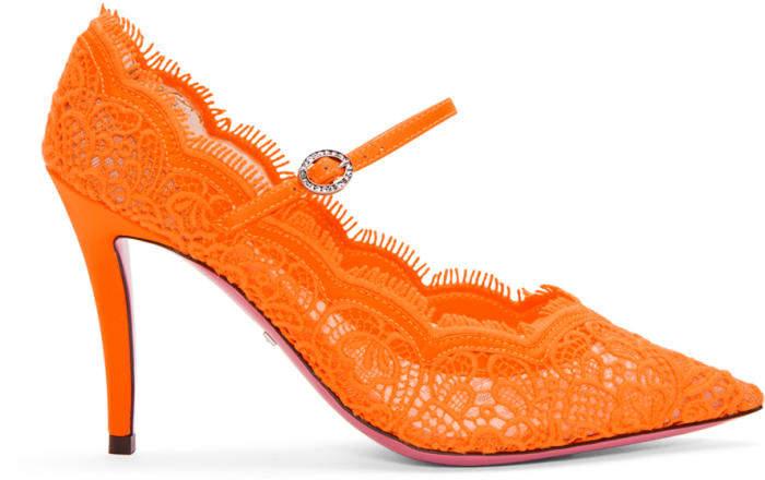 Gucci Orange Virginia Lace Mary Jane Heels