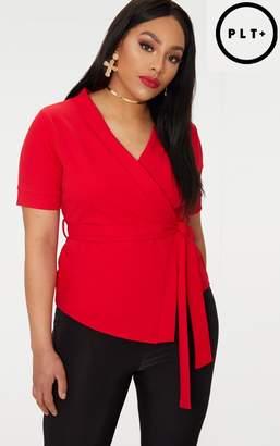 PrettyLittleThing Plus Red Kimono Wrap Top