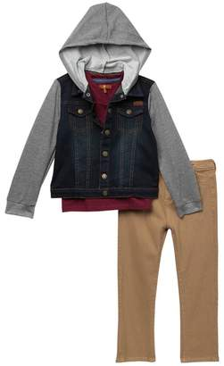 7 For All Mankind 3 Piece Hooded Knit Top Set (Toddler Boys)