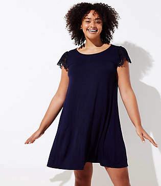 LOFT Plus Lace Cap Sleeve Swing Dress