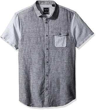 Armani Exchange A|X Men's Cotton Linen Single Pocket Short Sleeve Shirt
